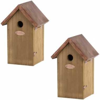 2x vogelhuisjes/vogelhuisjes pimpelmees/pimpelmeesjes 25.8 cm