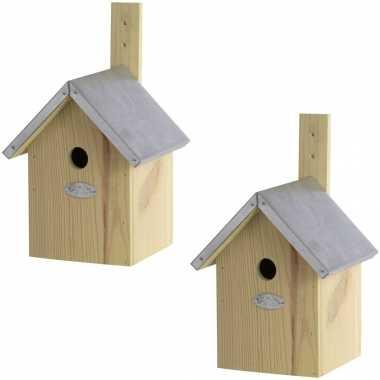 2x vogelhuisjes/vogelhuisjes pimpelmees / pimpelmeesjes 32 cm