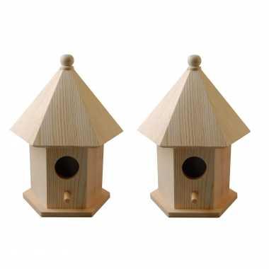 2x vogelhuisjes/vogelhuisjes pine hout met dakje 16 cm