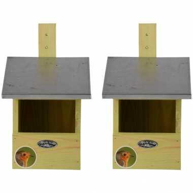 2x vogelhuisjes/vogelhuisjes voor grote roodborst 33.3 cm