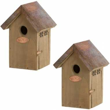 2x vogelhuisjes/vogelhuisjes winterkoning 20 cm