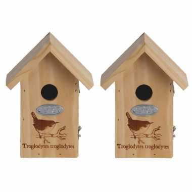 2x vogelhuisjes/vogelhuisjes winterkoning silhouet 19 cm