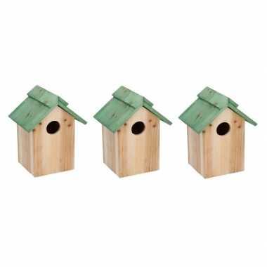 3x houten vogelhuisje/vogelhuisje met groen dak 24 cm