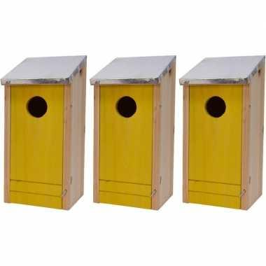 3x houten vogelhuisjes/vogelhuisjes gele voorzijde 26 cm