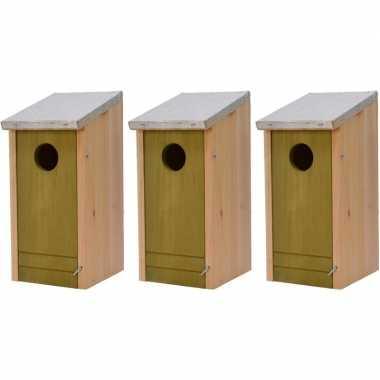 3x houten vogelhuisjes/vogelhuisjes lichtgroene voorzijde 26 cm