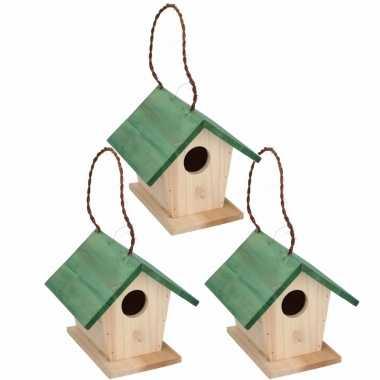3x stuks houten vogelhuisje/vogelhuisje met groen dak 17 cm