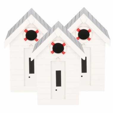3x stuks houten vogelhuisje/vogelhuisje wit strandhuisje 21 cm
