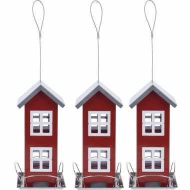 3x stuks vogel voeder huisje voor vogelzaad rood metaal 27 cm vogelhuisje