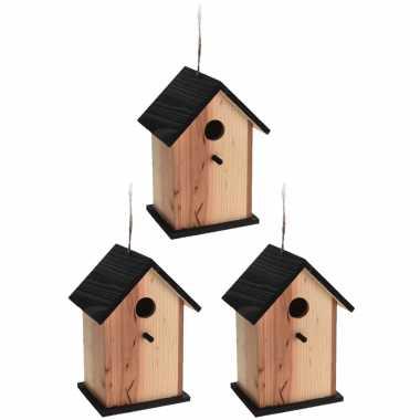 3x stuks vogelhuisje/vogelhuisje zwart/naturel hout 22 cm
