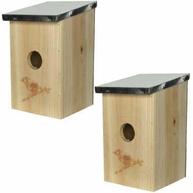 3x stuks vogelhuisjes/vogelhuisjes van vurenhout 12 x 14 x 21 cm