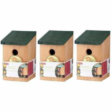 3x vogelhuisjes houten vogelhuisjes van 22 cm