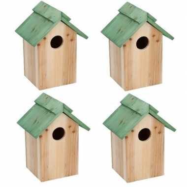 4x houten vogelhuisje/vogelhuisje met groen dak 24 cm
