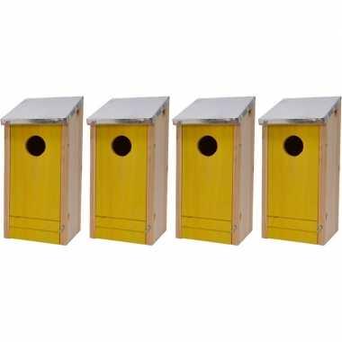 4x houten vogelhuisjes/vogelhuisjes gele voorzijde 26 cm