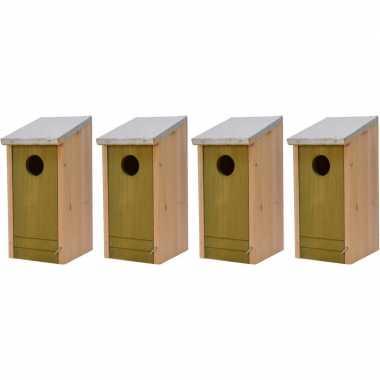 4x houten vogelhuisjes/vogelhuisjes lichtgroene voorzijde 26 cm