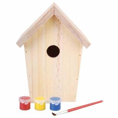 4x stuks diy vogelhuisje schilderen 20 cm