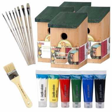 4x stuks houten vogelhuisje/vogelhuisje 22 cm zelf schilderen pakket verf/kwasten