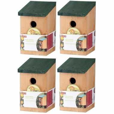 4x vogelhuisjes houten vogelhuisjes van 22 cm