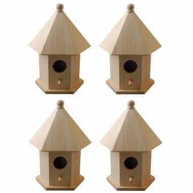4x vogelhuisjes/vogelhuisjes pine hout met dakje 16 cm