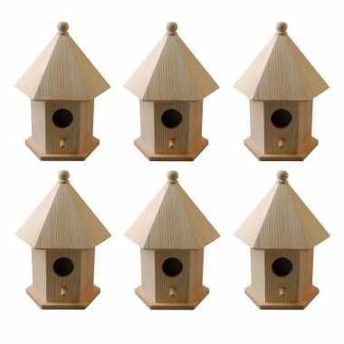 6x vogelhuisjes/vogelhuisjes pine hout met dakje 16 cm