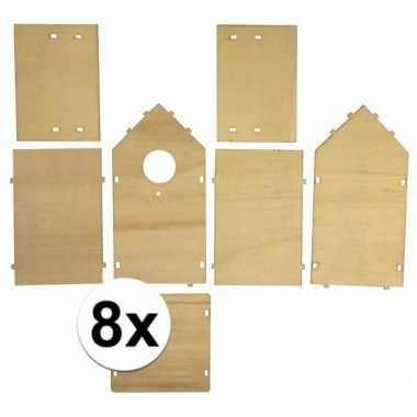 8x stuks vogelhuisjes om zelf te bouwen