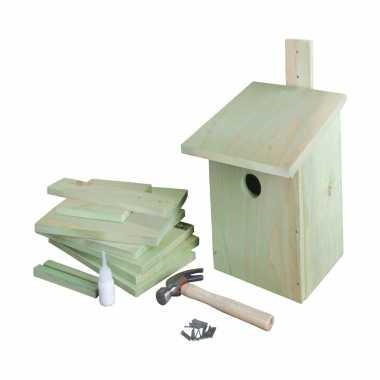 Doe het zelf houten vogelhuisje/vogelhuisje 23 cm