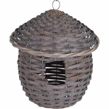 Gevlochten zeegras vogelhuisje/vogelhuisje 25 cm grijs
