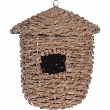 Gevlochten zeegras vogelhuisje/vogelhuisje 30 cm naturel