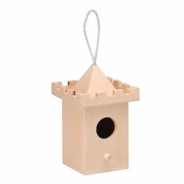 Hangdecoratie kerst vogelhuisje kasteeltoren 8 cm