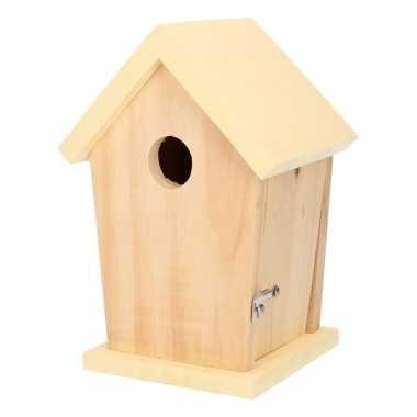 Hout vogelhuisje met wit dakje 21 cm