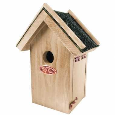 Houten vogelhuisje met bitumen dakje 16x22 cm