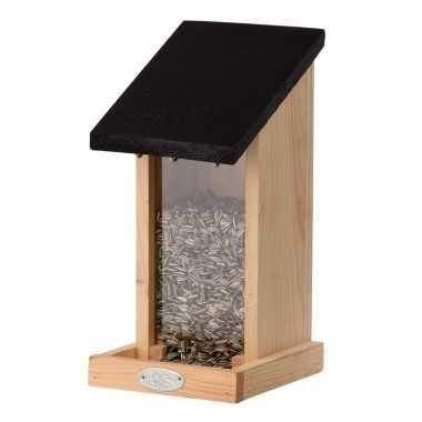 Houten vogelhuisje/muurvoedersilo 29.3 cm