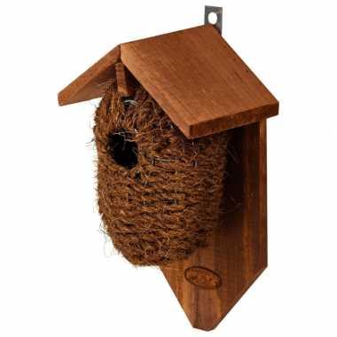 Houten vogelhuisje/nestbuidel kokos 26 cm