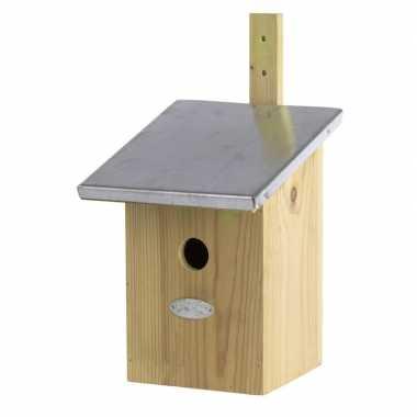 Houten vogelhuisje/nesthuisje 33 cm met zinken dak