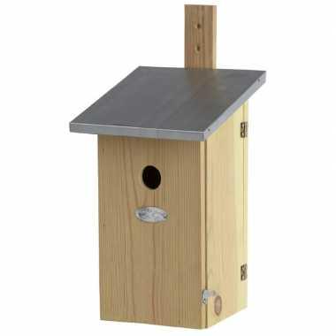Houten vogelhuisje/nesthuisje 39 cm met kijkluik