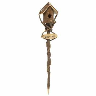 Houten vogelhuisje op stok bruin rond 95 x 19 cm