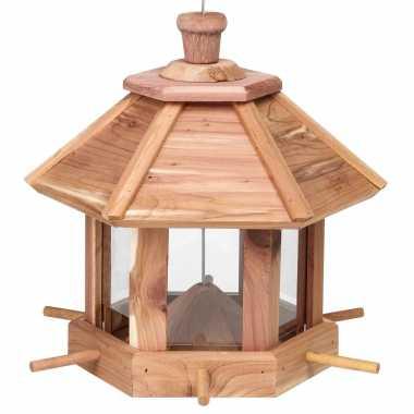 Houten vogelhuisje/voedersilo 26 cm