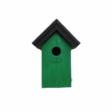 Houten vogelhuisje/vogelhuisje 22 cm zwart/groen dhz schilderen pakket
