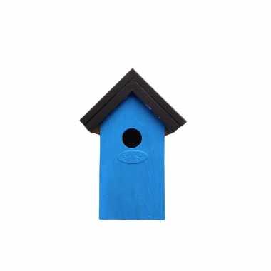 Houten vogelhuisje/vogelhuisje 22 cm zwart/lichtblauw dhz schilderen pakket