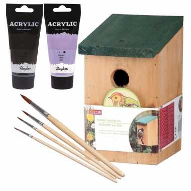 Houten vogelhuisje/vogelhuisje 22 cm zwart/lila paars dhz schilderen pakket