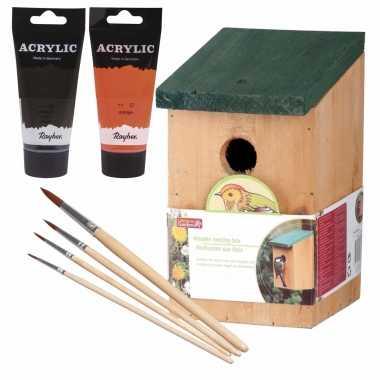 Houten vogelhuisje/vogelhuisje 22 cm zwart/oranje dhz schilderen pakket