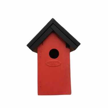 Houten vogelhuisje/vogelhuisje 22 cm zwart/rood dhz schilderen pakket