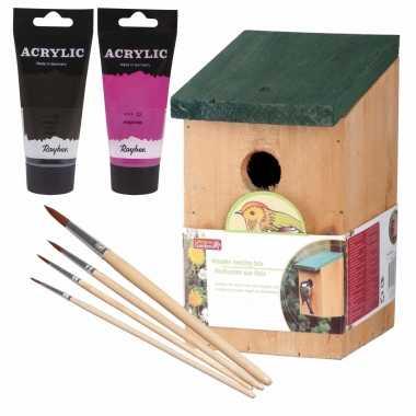 Houten vogelhuisje/vogelhuisje 22 cm zwart/roze dhz schilderen pakket