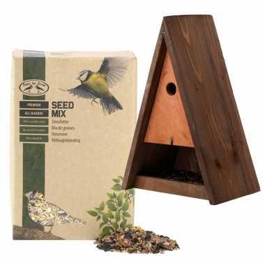Houten vogelhuisje/vogelhuisje bruin 40 cm met vogel strooivoer 2,5 kg