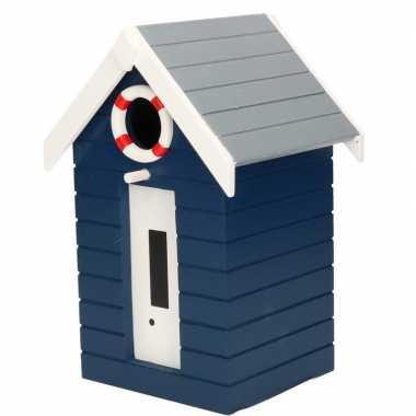 Houten vogelhuisje/vogelhuisje donkerblauw strandhuisje 21 cm
