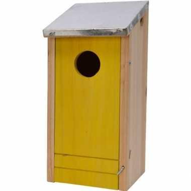 Houten vogelhuisje/vogelhuisje gele voorzijde 26 cm