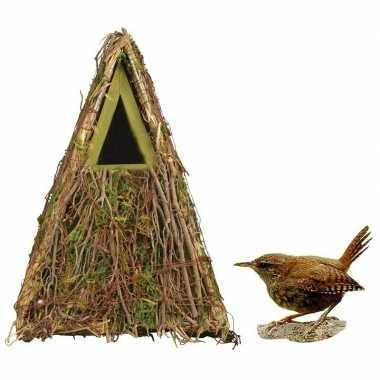 Houten vogelhuisje/vogelhuisje groene camouflage 24 cm