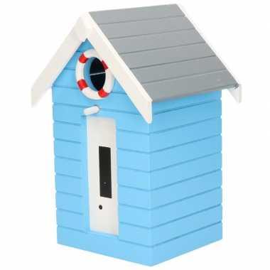 Houten vogelhuisje/vogelhuisje lichtblauw strandhuisje 21 cm