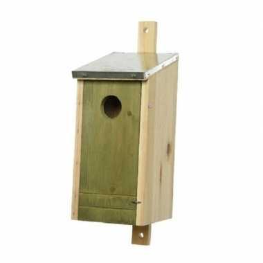 Houten vogelhuisje/vogelhuisje lichtgroene voorzijde 26 cm