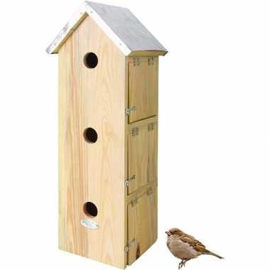 Houten vogelhuisje/vogelhuisje mussenvilla 51 cm