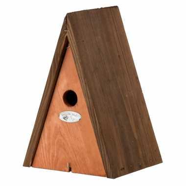 Houten vogelhuisje/vogelhuisje wigwam bruin 27 cm